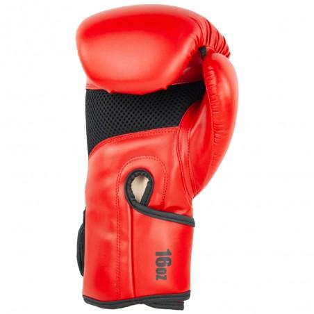 guantes de boxeo de semi-piel, cierre con velcro, color rojo