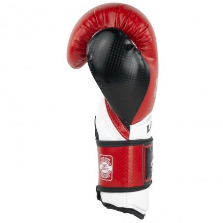 guantes de boxeo de piel sintética, cierre con velcro, color rojo y blanco