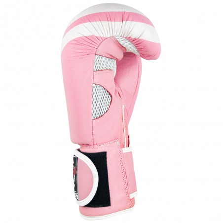 guantes de boxeo de piel, cierre con velcro, color rosa y blanco