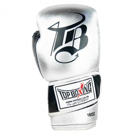guantes de boxeo de piel, cierre con velcro, color plata y negro