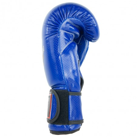 guantes de boxeo de semi-piel, cierre con velcro, color azul
