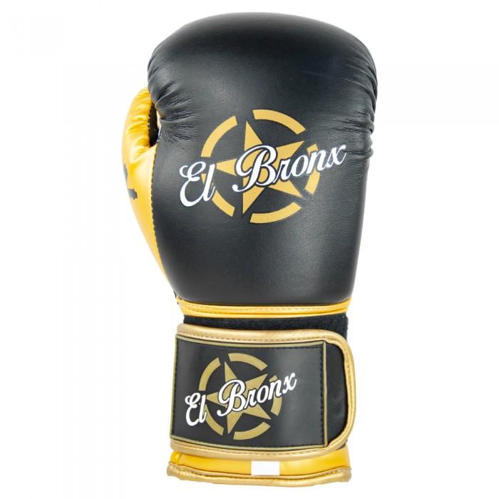 guantes de piel sintética, cierre con velcro, color negro y oro