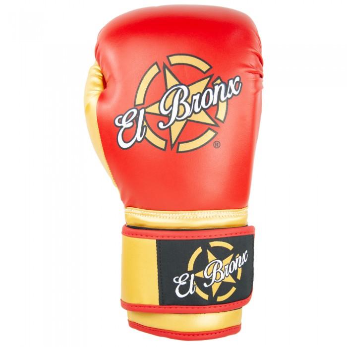 guantes de boxeo de piel sintética, cierre con velcro, color rojo y oro