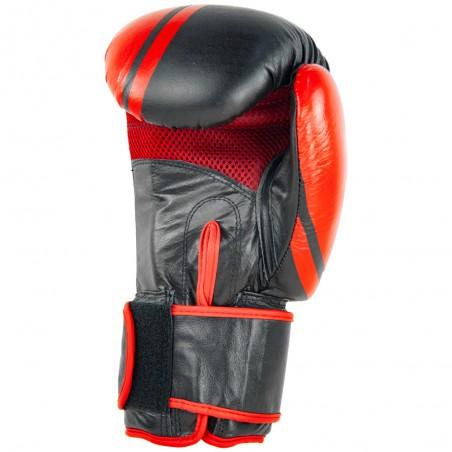 guantes de boxeo de piel, cierre con velcro, color negro y rojo