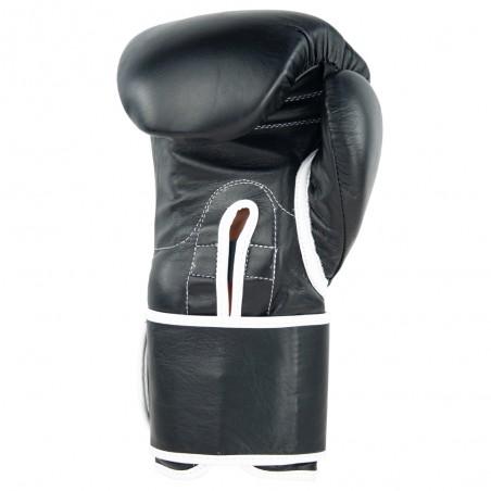 guantes de boxeo de piel, cierre con velcro, color negro