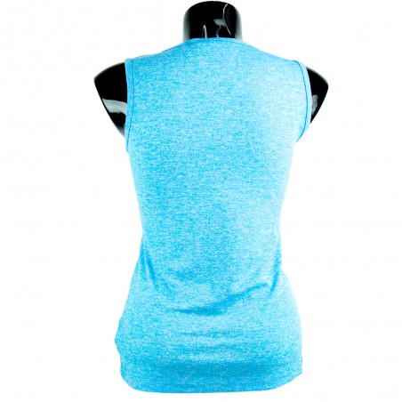 camiseta mujer fitness azul y fucsia el bronx