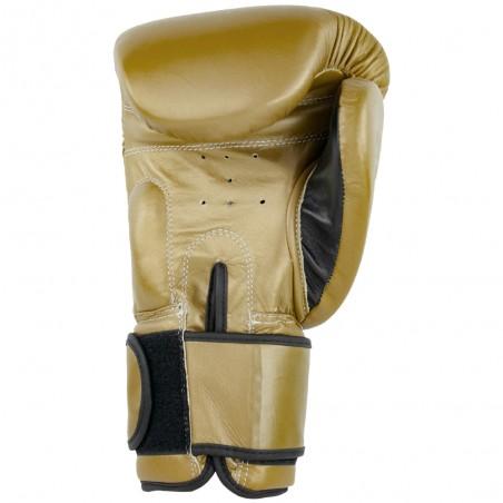 guantes de boxeo de piel, cierre con velcro, color oro