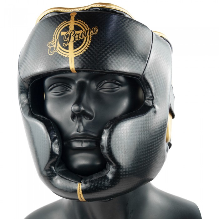casco semipiel warrior negro y oro