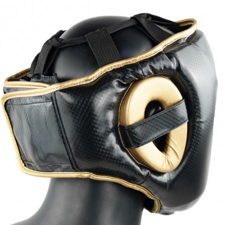 casco semipiel negro y oro warrior