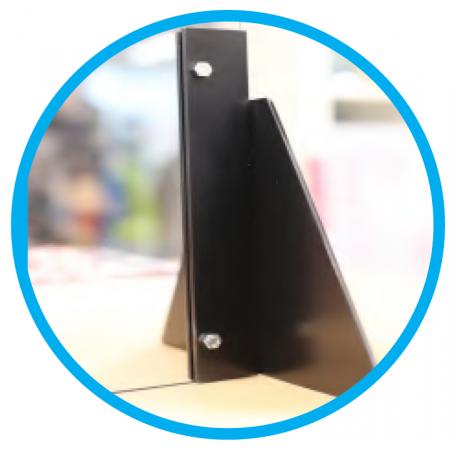 soporte triángulo mampara de protección