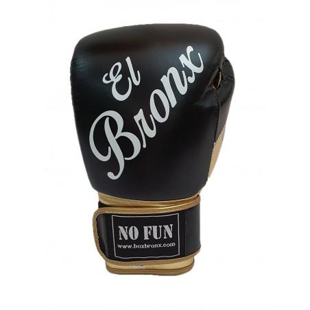 guantes de boxeo de piel, cierre de velcro, color negro y oro