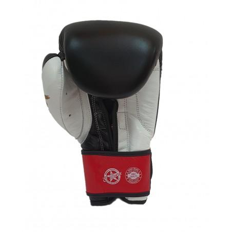 guantes de boxeo de piel, cierre de velcro, color blanco y negro