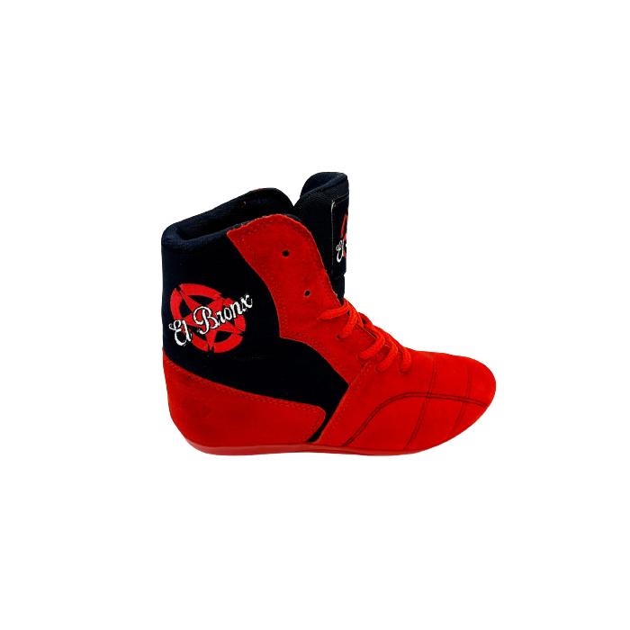 botas de boxeo savate competición caña media  color rojo el bronx