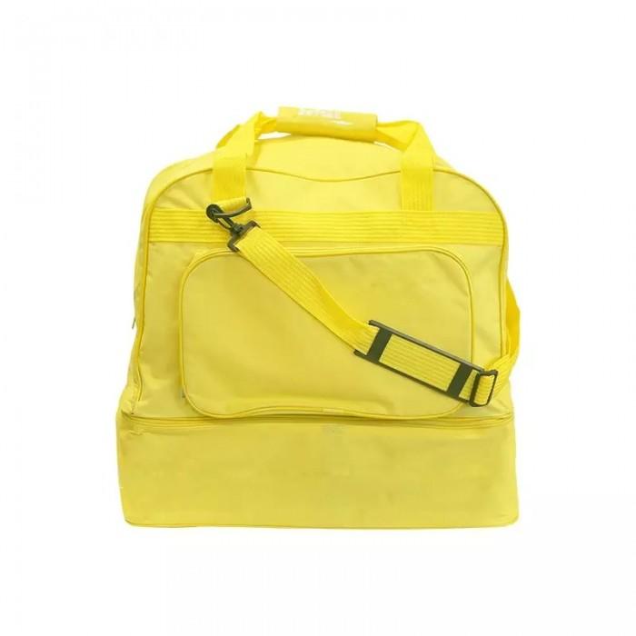 bolsa zapatillero amarillo, con varios compartimentos