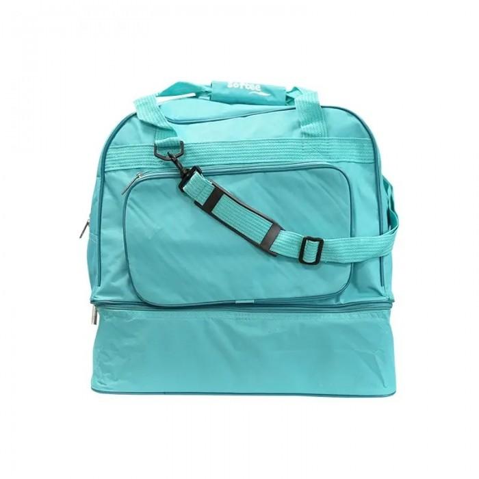 bolsa zapatillero verde, con varios compartimentos