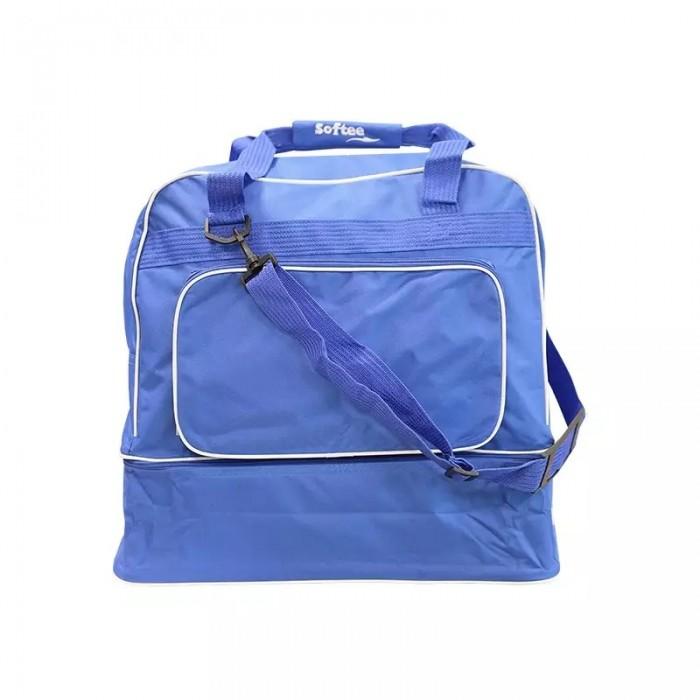 bolsa zapatillero azul, con varios compartimentos