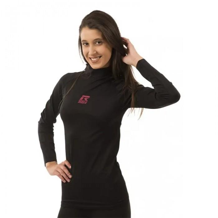 camiseta térmica manga larga de mujer de color negro