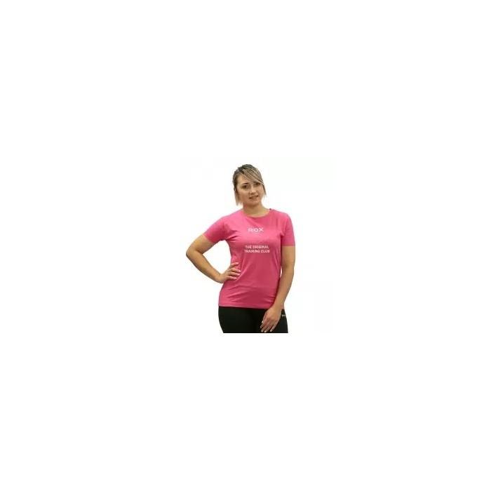 camiseta de mujer cuello redondo color fucsia