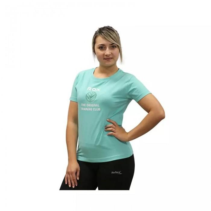 camiseta de mujer cuello redondo color turquesa