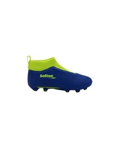 zapatillas de futbol en color azul y flúor