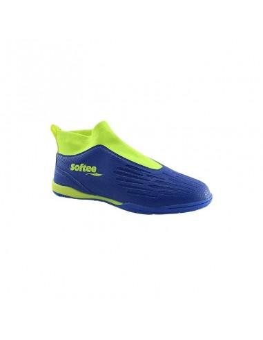 zapatillas de futbol sala en color azul y flúor