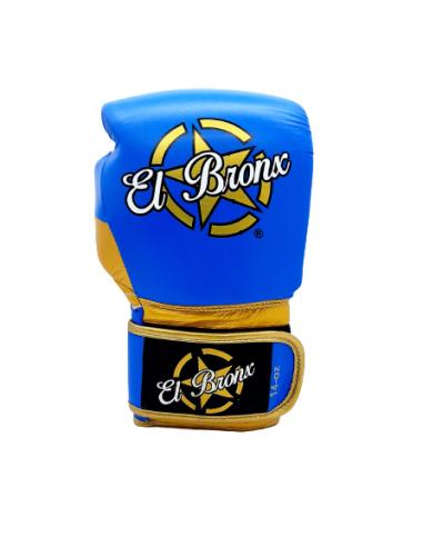 guantes de boxeo de piel, cierre con velcro, color azul y oro