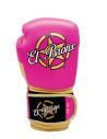 guantes de boxeo de piel, con velcro, color rosa y oro