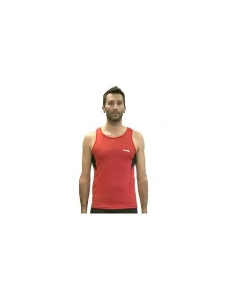camiseta fitness de hombre en tirantes de color rojo y negro