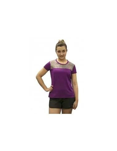 camiseta fitness manga corta de mujer color violeta