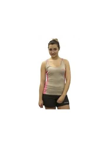camiseta fitness manga de tirantes de mujer color gris