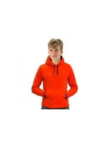 forro polar con capucha de niño color rojo.
