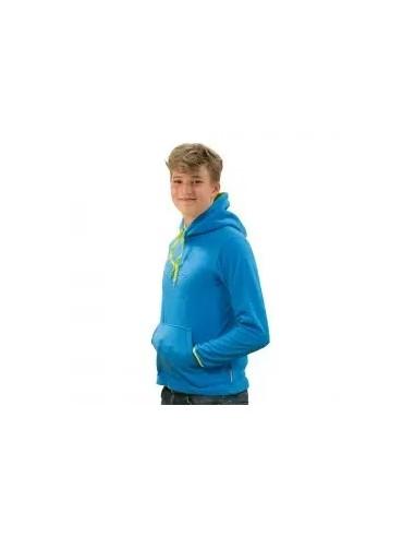 forro polar con capucha de niño color  azul royal y detalles pistacho
