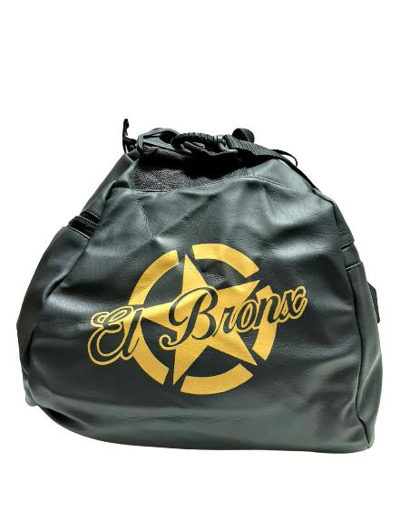 bolsa de deporte, negra y dorado