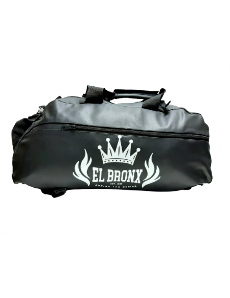 bolsa o mochila de deporte negro con detallles blanco