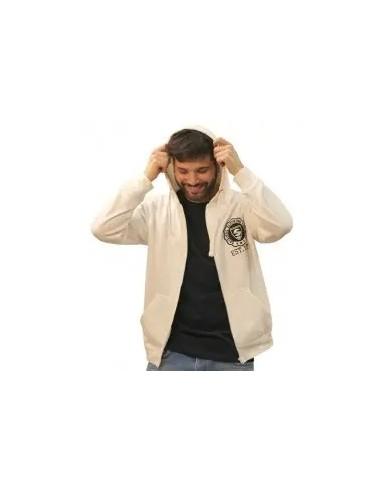 chaqueta o sudadera de cremallera con capucha para hombre color blanco
