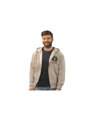 chaqueta o sudadera de cremallera con capucha para hombre color gris