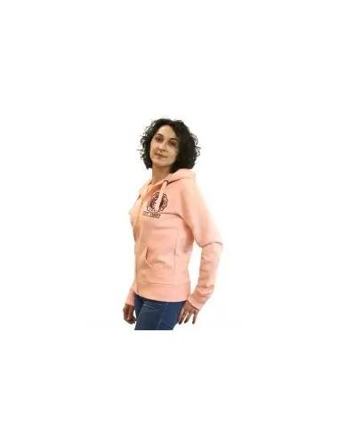 chaqueta o sudadera de cremallera con capucha para mujer color rosa