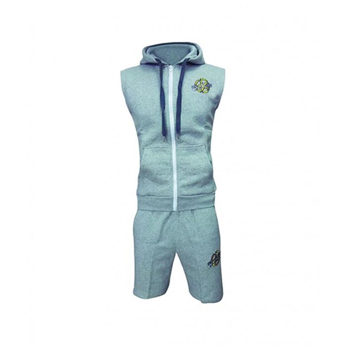 conjunto de verano pantalon corto y chaqueta sin mangas en gris , el bronx