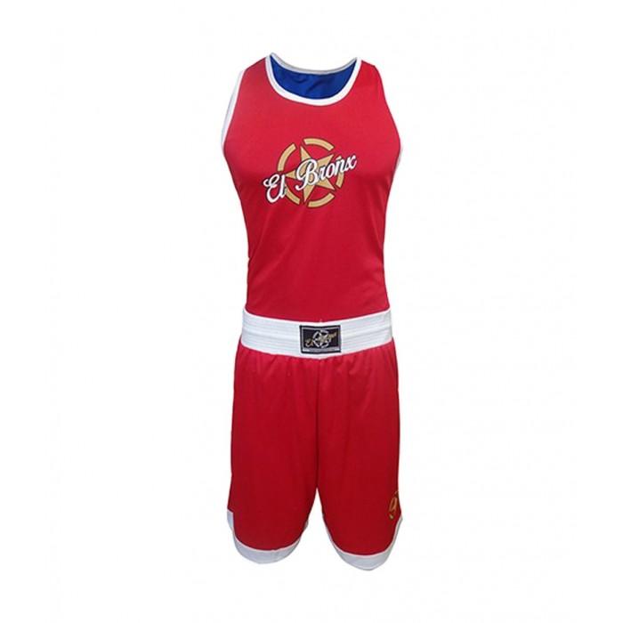 traje de competicon de boxeo amateur reversible rojo y azul de el bronx