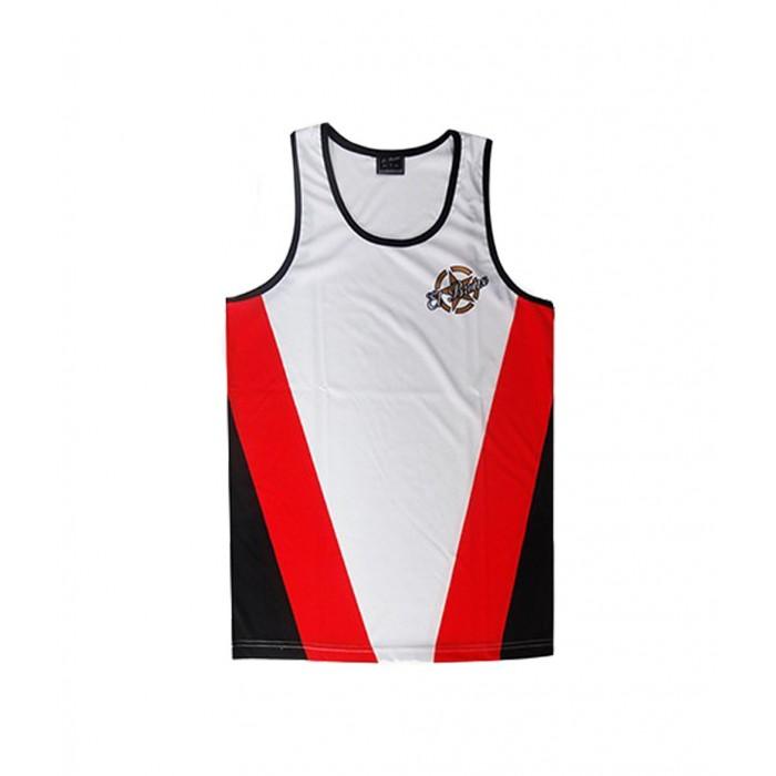 camiseta deportiva perfecto para todos los deportes de la marca el bronx en color blanco, rojo y negro