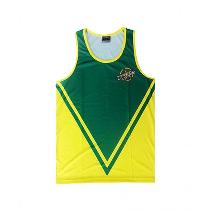 camiseta deportiva perfecto para todos los deportes de la marca el bronx en color verde y amarillo