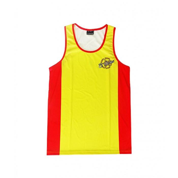 camiseta deportiva perfecto para todos los deportes de la marca el bronx en color amarillo y rojo