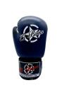 guantes de boxeo de piel, cierre con velcro, color azul