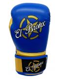 guantes de boxeo de piel sintética, cierre con velcro, color azul y oro