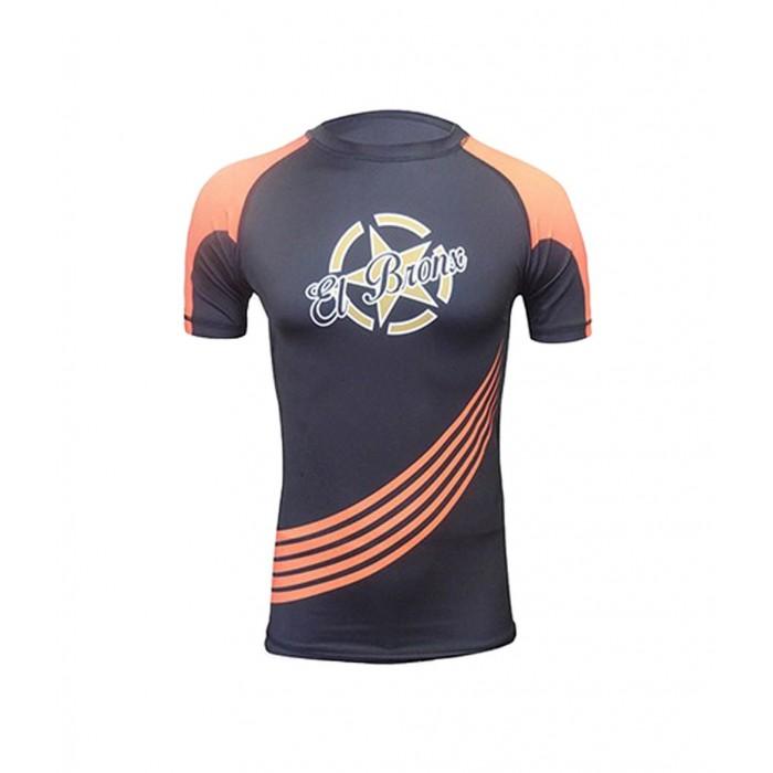 camiseta en manga corta para mma de el bronx color negro y naranja