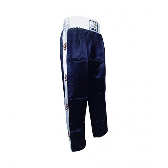 pantalon largo de saten en color negro de el bronx para kickboxing , full contact y deportes de contacto