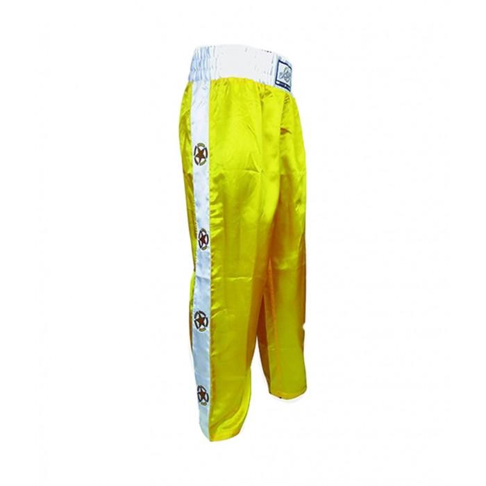 pantalon largo de saten en color amarillo de el bronx para kickboxing , full contact y deportes de contacto