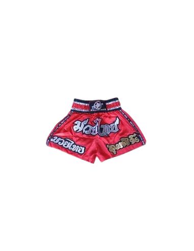 shorts para entrenamiento de kick boxing, muay thai, k1, de la marca el bronx en color rojo con detalles varios