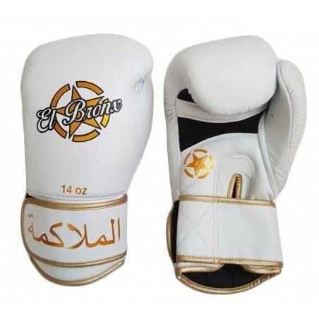 guantes de boxeo de piel, cierre de velcro, color blanco