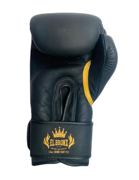 guante de piel y velcro en color negro mate de la marca el bronx